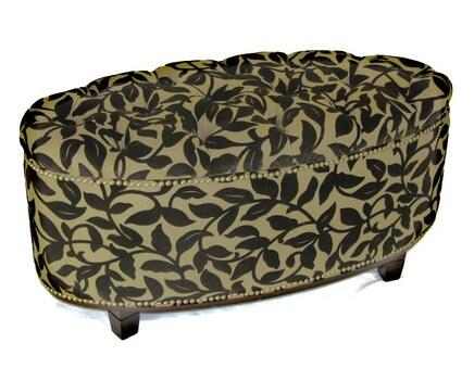 75650 38 inch  Ora Oval Ottoman Bench with Interior Storage  Tufted Top and Antique Brass Nail Head Trim in Brown
