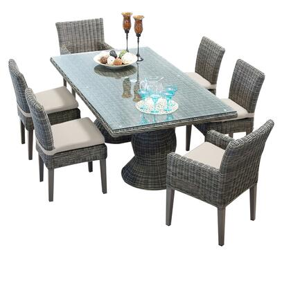 Capecod-rectangle-kit-4adc2dcc Cape Cod Vintage Stone Rectangular Outdoor Patio Dining Table With 4 Armless Chairs And 2 Chairs W/ Arms With 1 Cover In