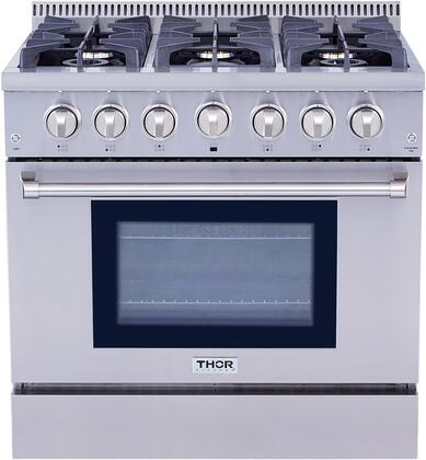 Thor Kitchen HRG3618U 36 Freestanding Professional Style Gas Range with 5.2 Cu. Ft. Oven, 6 Burners, Convection Fan, Cast Iron Grates, Blue Porcelain Oven Interior, In Stainless Steel