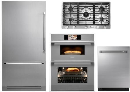 4-Piece Stainless Steel Kitchen Package with DYF36BFTSL 36 inch  Bottom Freezer Refrigerator  RNCT365GSNGH 36 inch  Natural Gas Cooktop  DOC30M977DS 30 inch  Combi Wall Oven