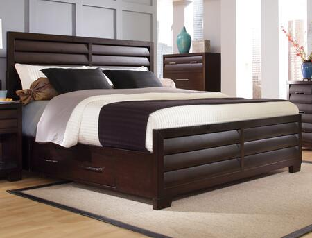 Sable Collection 330-BR-K6 Queen Size Storage Bed with 4 Side Drawers  Clean Line Design  Decorative Louvered Panels and Wood Construction in