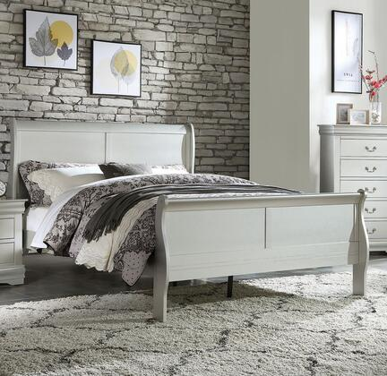 Louis Philippe Collection 26727EK King Size Bed with Low Profile Footboard  Sleigh Headboard  Solid Pine Wood and Gum Veneer Materials in Platinum