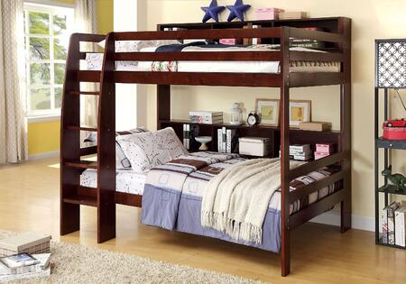 Camino Collection CM-BK613EX-BED Twin Size Bunk Bed with Attached Ladder  Shelves  13 PC Slats Top and Bottom  Solid Wood and Wood Veneers Construction in Dark