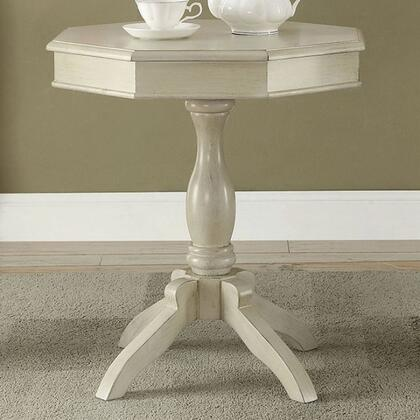 Iliana CM-AC6442WH Octagon Accent Table with Transitional Style  Pedestal Design  Octagon Table Top  Solid Wood/Others in Antique