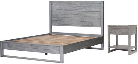 Callisto Collection 7800014-WG-5 2-Piece Bedroom Set with Queen Bed and Night Stand in Weathered