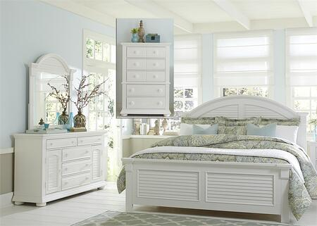 Summer House I Collection 607-BR-KPBDMC 4-Piece Bedroom Set with King Panel Bed  Dresser  Mirror and Chest in Oyster White