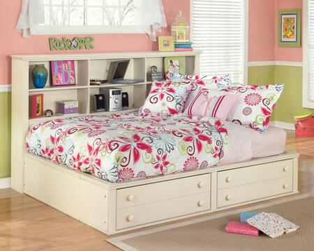 Cottage Retreat Collection B213-05/85/86 Full Size Bedside Storage Bed with Bookcase Headbaord  2 Footboard Drawers and Side Roller Glides in Cream Cottage
