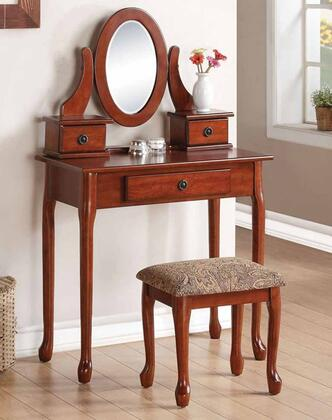 Jonas 90155 32 inch  Vanity Set with 3 Drawers  Mirror  Cushioned Stool  Cabriole Legs and Decorative Hardware in Cherry