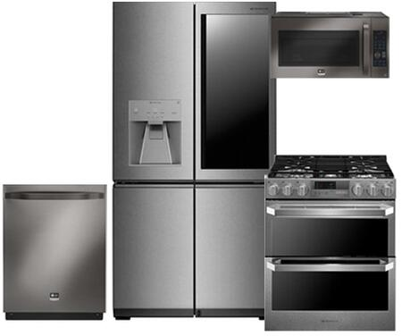 4-Piece Kitchen Package With LUPXC2386N 36 inch  French Door Refrigerator  LUTD4919SN 30 inch  Slide-in Dual Fuel Range  LSMC3089BD 30 inch  Over the Range Microwave and