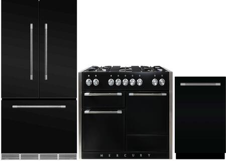 3-Piece Black Kitchen Package with MMCFDR23BLK 36 inch  French Door Refrigerator  AMC48DFBLK 48 inch   Freestanding Dual Fuel Range  and AMCTTDWBLK 24 inch  Fully Integrated