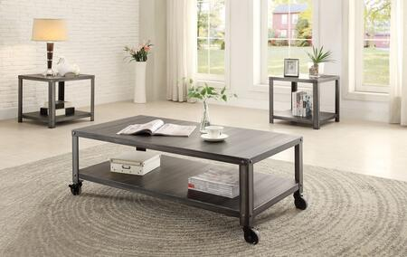 Sarina 80370CE 3 PC Living Room Table Set with Coffee Table + 2 End Tables in Antique Black