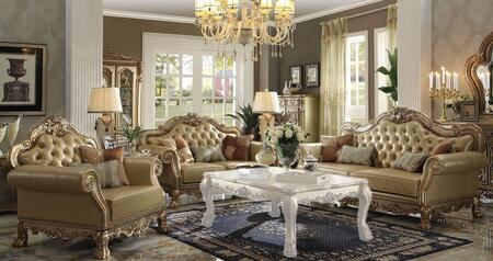 Dresden 53160SLC 3 PC Living Room Set with Sofa + Loveseat + Chair in Gold Patina