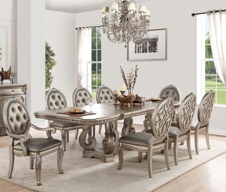 Northville Collection 669209SET 9 PC Dining Room Set with Rectangular Shaped Extendable Dining Table  2 Arm Chairs and 6 Side Chairs in Antique Champagne