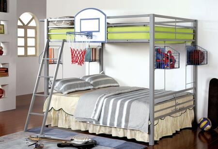Athlete Collection CM-BK927BSKT Full Size Bunk Bed with Storage Baskets  Display Shelves  Removable Angled Front Access Ladder and Full Metal Construction in
