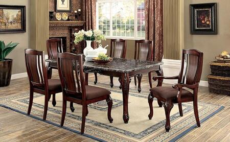 Johannesburg I Collection CM3873T4SC2AC 7-Piece Dining Room Set with Rectangular Table  4 Side Chairs and 2 Arm Chairs in Brown Cherry