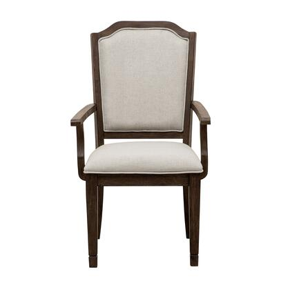 S024155 Hamilton Upholstered Arm Chair with Fabric Upholstered Seat and Back  Distressed Detailing  Piped Stitching and Tapered Legs in