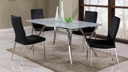 JADE-JAMILA-5PC JADE DINING 5 Piece Set - Super White Starphire Glass Dining Table with 4 Black High Contour Back Side