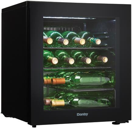 Danby DWC018A1BDB 18 Inch Freestanding Single Zone Wine Cooler with 16 Bottle Capacity, Right Hinge, Glass Door, 2 Extension Wine Racks, Analog Control, LED Light, Compressor Cooling, in Black
