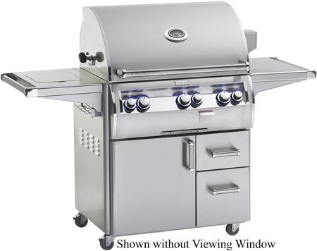 E660S4EAN62W Echelon Diamond Series Freestanding Gas Grill with 660 sq. in. Cooking Area  Magic View Window 3 Burners  Analog Thermometer  Single Side Burner
