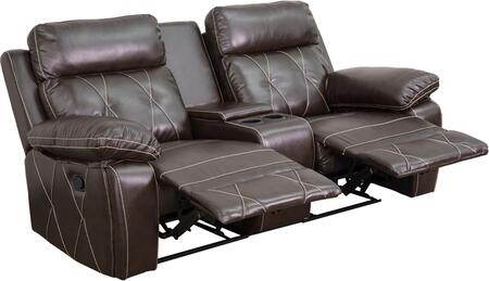 BT-70530-2-BRN-GG Real Comfort Series 2-Seat Reclining Brown Leather Theater Seating Unit with Straight Cup 548618
