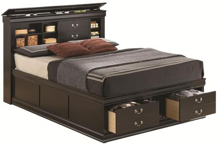 201079Q Louis Philippe Storage Bed with Headboard  Rails & Slats and Footboard Storage Drawers in Black Finish