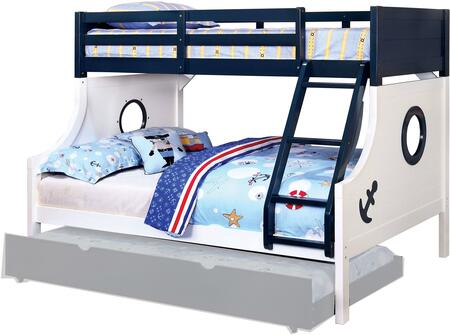 Nautia Collection CM-BK629-BED Twin Over Full Size Bunk Bed with Nautical Style  Anchor Decals  Attached Angled Ladder  Solid Wood and Wood Veneers