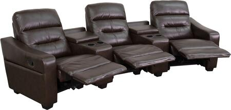 BT-70380-3-BRN-GG Futura Series 3-Seat Reclining Brown Leather Theater Seating Unit with Cup 548616