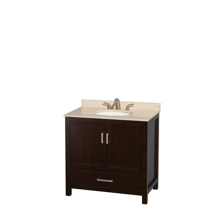 Wcs141436sesivunomxx 36 In. Single Bathroom Vanity In Espresso  Ivory Marble Countertop  Undermount Oval Sink  And No