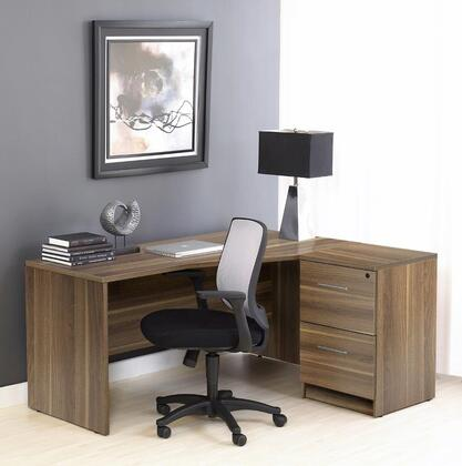 1C100005RWL Walnut Corner L Shaped Desk - Right Sidewith Filing
