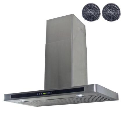 GWR53A36 36 inch  Wall Mount Range Hood with 760 CFM  65 dB  Innovative Touch  2W LED Lighting  3 Fan Speed  Stainless Steel Baffle Filter and Ductless: Stainless