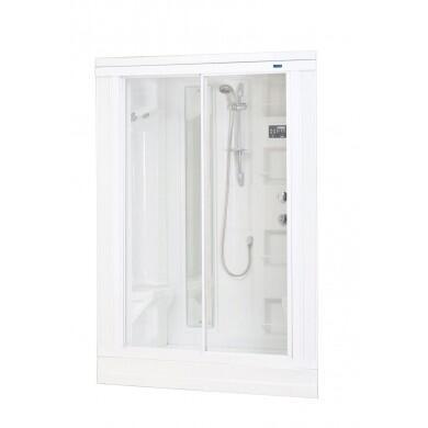 ZA205 Drop-In Steam Shower  White  18 Body Jets  2 Built-In Seats  12V Light  Storage Shelves  Adjustable Feet for