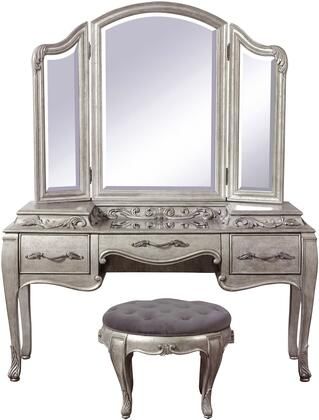 Rhianna Collection 788-BR-K13 3-Piece Vanity Set with Vanity Desk  Vanity Mirror and Stool in