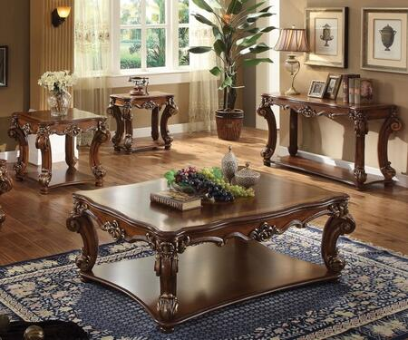 Vendome Collection 82000CESS 4 PC Living Room Table Set with Rectangular Shaped Coffee Table  Square Shaped End Table  Rectangular Shaped Side Table and