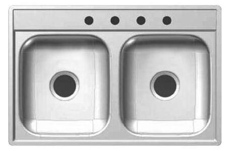 DS653-20NB 33 inch  Double Bowl Drop-In Sink  20 Gauge Stainless Steel  Sheen Deck  Sheen Bowls  3 Faucet Holes