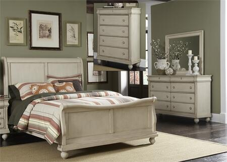 Rustic Traditions II Collection 689-BR-KSLDMC 4-Piece Bedroom Set with King Sleigh Bed  Dresser  Mirror and Chest in Rustic White