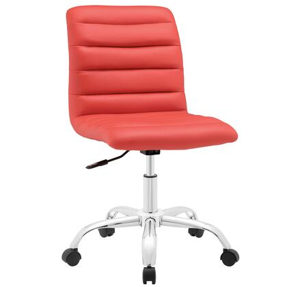 Ripple Collection EEI-1532-RED Armless Office Chair with Swivel Seat  Adjustable Height  Polished Chrome Hooded Base  Five Dual-Wheel Nylon Casters  Mid High