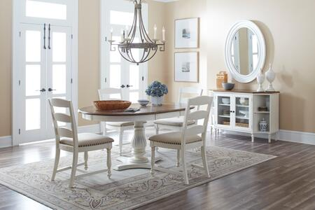 Castle Hill Collection 177666TBKT6SET 6 PC Dining Room Set with Dining Table + Server + 4 Ladder Back Chairs in Antique White and Oak
