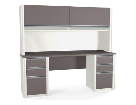 93876-59 Connexion Credenza and Hutch Kit Including Assembled Pedestals with Scratch and Stain Resistant Surface in Slate and