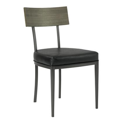 Ojai Collection LCOJCHVBGR Mid-Century Dining Chair in Mineral Finish with Vintage Black Faux Leather and Grey Walnut Wood Back - Set of