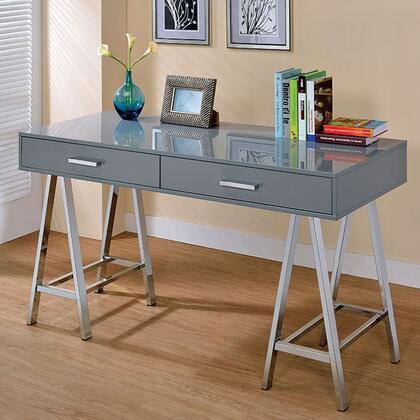 Liv CM-DK6133GY Computer Desk with Contemporary Style  Angled Chrome Legs  Metal Hardware  2 Drawers in