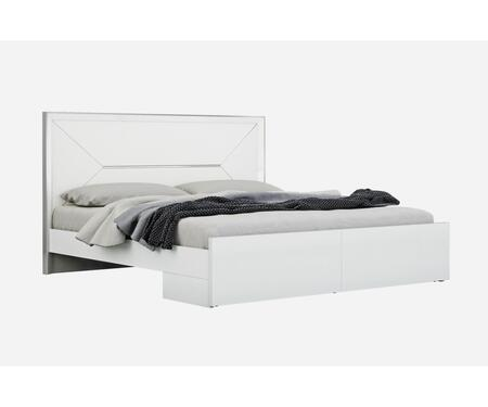 BK1354WHT Navi Bed King  High Gloss White  White Faux Leather Headboard With Stainless Steel Accent  Large Drawer At