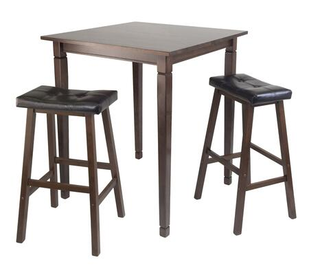 94399 3pc Kingsgate High/Pub Dining Table with 2 Cushion Bar Seat Stools in Antique Walnut