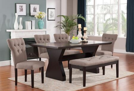 Effie Collection 71515T4LBCB 6 PC Dining Room Set with Dining Table + 4 Light Brown Side Chairs + Light Brown Bench in Espresso