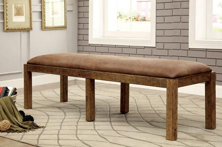 Gianna CM3829BN Fabric Bench with Industrial Style  Bold and Sturdy Design  Solid Pine Wood  Rustic Pine Finish in Rustic