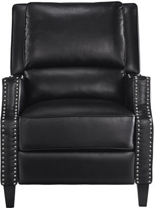 Alston Collection 4218835 30 inch  Recliner with Nail Head Accents  Tapered Legs  Splender Knee Cut Arms  Split Back Cushion and Bycast PU Leather Upholstery in