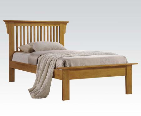 Roger Collection 21070Q Queen Size Bed with Low Profile Footboard  Slat Design Headboard and Wood Frame in Oak