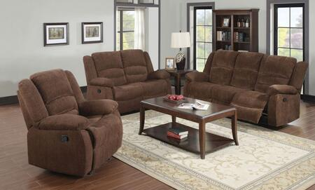 Bailey 51025SLR 3 PC Living Room Set with Sofa + Loveseat + Recliner in Dark Brown