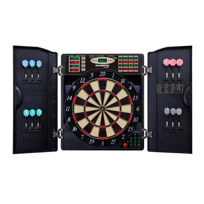 EBR1000 E-Bristle 1000 Dartboard Cabinet and 13.5 inch  E-Bristle Board Set with Six Steel Tip Darts  Six Soft Tip Darts  Extra Tips  and AC