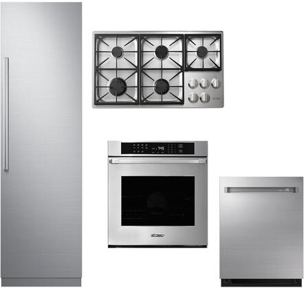 4-Piece Stainless Steel Kitchen Package with DRR24980RAP 24 inch  All Refrigerator  DTCT466GSNGH 46 inch  Natural Gas Cooktop  RNWO230FS Double Wall Oven  and