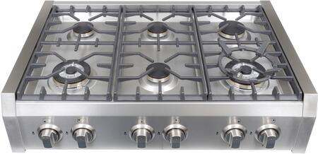 S9-6 36 inch  Gas Rangetop with 6 Sealed Burners  Electronic Ignition  Flame Failure safety Device  in Stainless